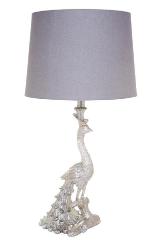 Cafe Lighting Peacock Table Lamp in Gold or Silver B22 66cm