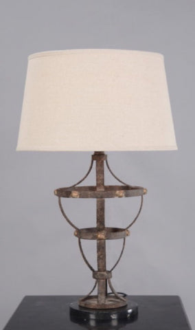 Emac Lawton Antonio Table Lamp Brown w Natlin Shade E27 in 73cm