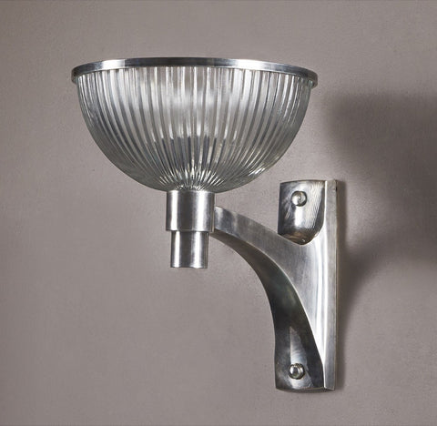 Emac Lawton Astor Wall Light Silver w Glass E27 33cm