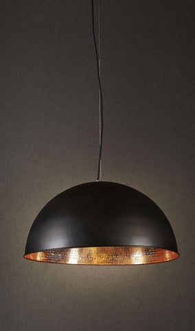 Emac Lawton Alfresco Dome Pendant Light Copper w White or Black E27 61cm