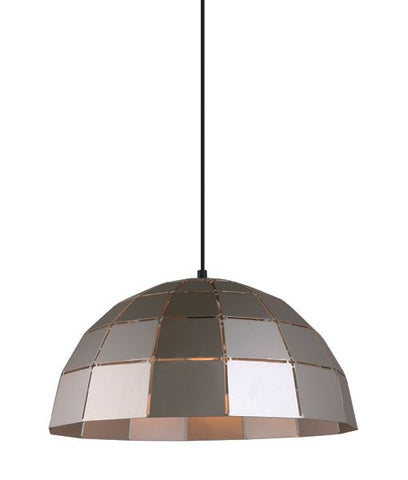 CLA Lighting Armis Pendant Light Tiled Dome E27 White Champagne or Coffee 40cm