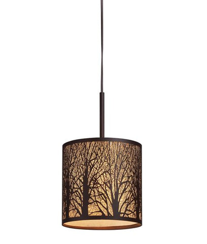 CLA Lighting Autumn Pendant Light E27 Bronze w Amber lining in 35cm