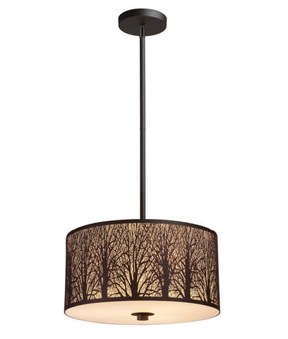 CLA Lighting Autumn Pendant Light Three E27 Bronze w Amber in 40cm