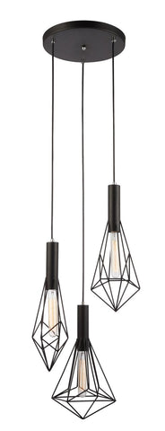 CLA Lighting Blackband Pendant 3 Light Round Base Black Iron Cage E27 in 80cm