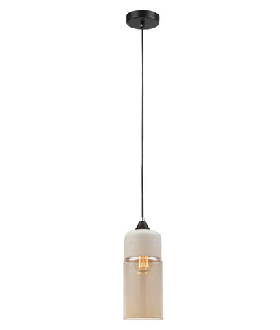 CLA Lighting Casa Pendant Light Oblong Amber Glass E27 25W in 29cm