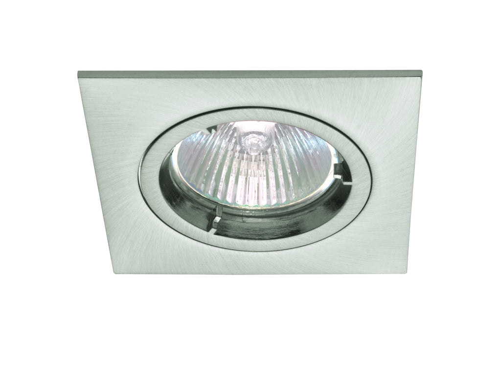 Cla downlight fitting fixed square mr11 in satin chrome or white 6cm