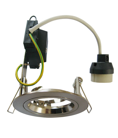 CLA Downlight Fitting Fixed Round w Flex & Plug GU10 in Chrome or White 8cm