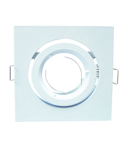 CLA Downlight Fitting Gimbal Square MR16 in Satin Chrome or White 10cm