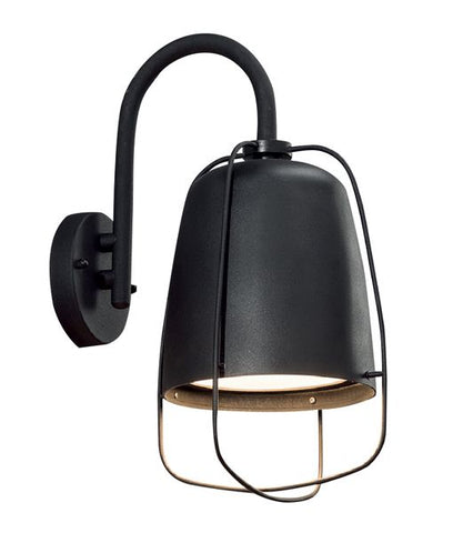 CLA Lighting Hink Wall Light w Cage Exterior E27 in Black or White 37cm