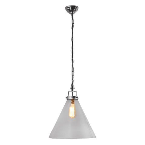 One world Pendant Light Glass Cone Nickel in 29cm 37cm or 46cm