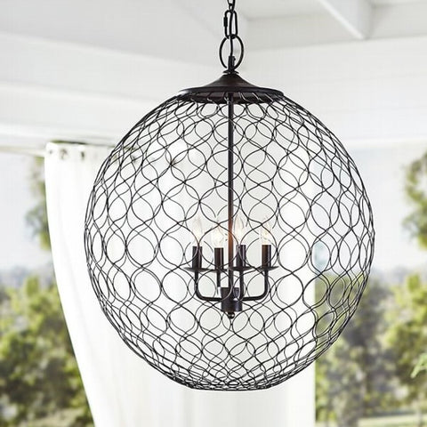 One world Pendant Light Iron Patterned Black in 97cm