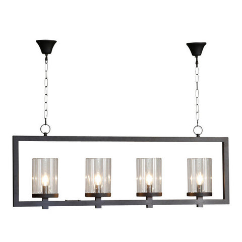 One world Pendant Four Light Black in 66cm