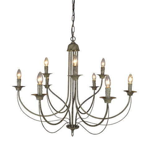 Oneworld Chandelier Light 9 Arm Taupe in 90cm - RexLights.com.au