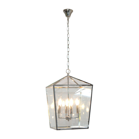 One world Elegant Pendant 4 Light Cube Nickel in 68cm