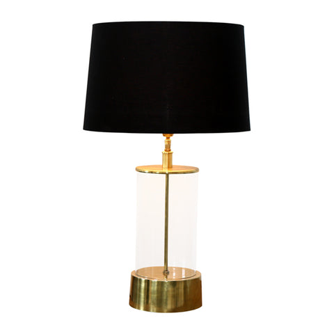 One world Cylinder Lamp W/Black Sh W/Cream Sh in 52cm