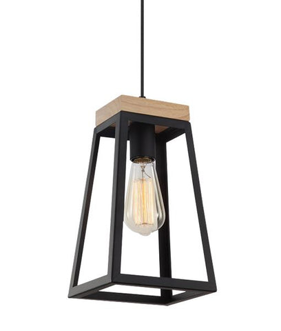 CLA Lighting Lanterna Pendant Light Trapezium in Black or White E27 28cm