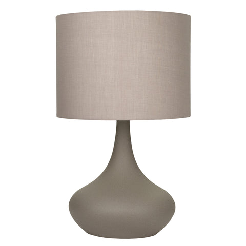 Atley Table Lamp Ceramic Base w Grey Shade in 33cm or 49cm Lexi Lighting