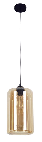 CLA Lighting Mason Pendant Light Oblong Amber Clear or Smoke E27 in 36cm