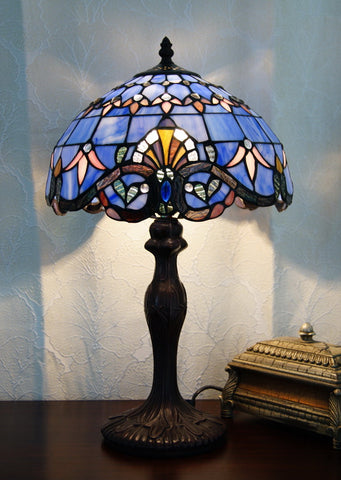 fac12af8f710 Tiffany Bedside Lamp Beige or Blue Baroque Style Stained Glass in 48cm ...