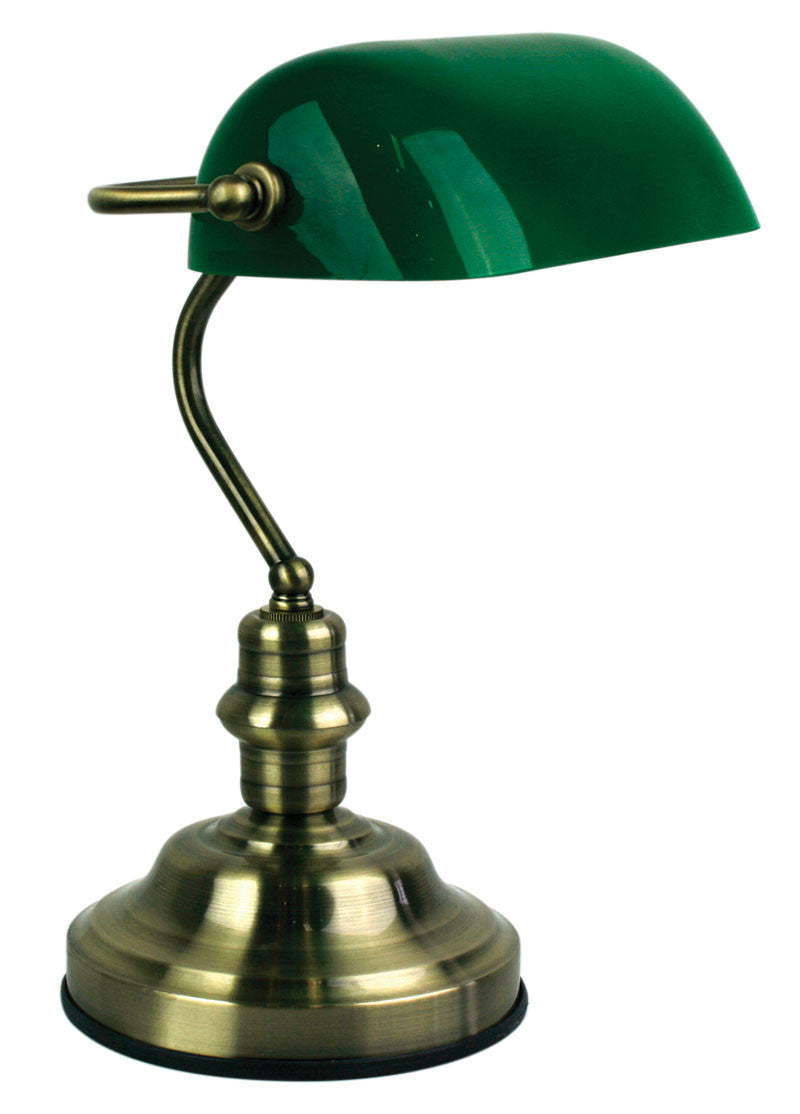 Oriel Bankers Table Lamp Green Shade W Brass Or Chrome