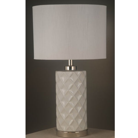 One world White Ceramic Lamp W/White Shade W/N.Blue Shade in 63cm