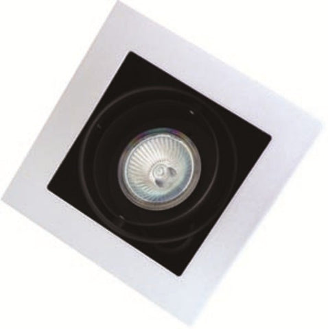 UGE Single Downlight Frame Square w Black Baffle MR16 in 13cm