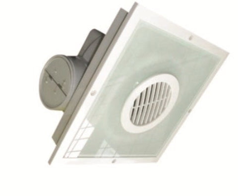 UGE Exhaust Fan Square w Fluorescent Light in White or Silver 28cm