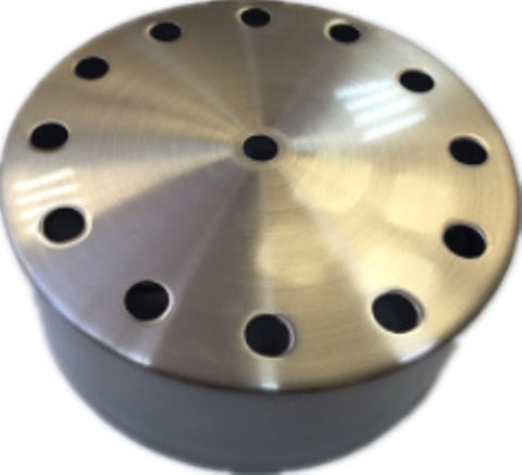 UGE Ceiling Plate w 13 Holes Surface Mounted in Satin Chrome 15cm