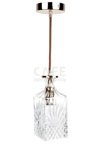 Cafe Lighting Valmont Pendant Light Square in Gold Plated w Clear E14 in 21cm