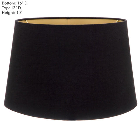 Emac Lawton Lamp Shade in Black w Gold Lining 40cm