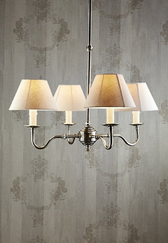 Emac Lawton Milton Chandelier Light Base 4 Arms in Brass or Silver E14 60cm