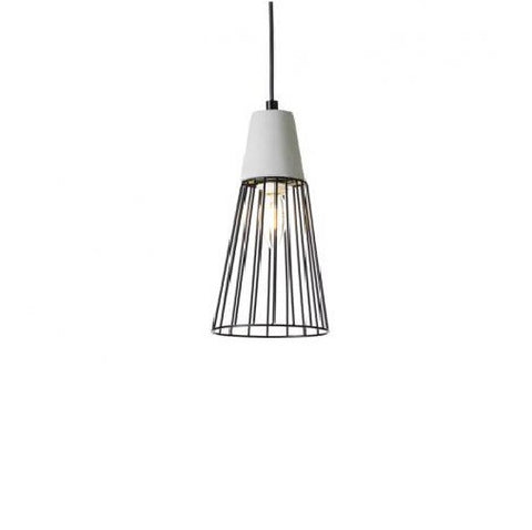 Rouge Living Camden Pendant Light Black Wire w Concrete E14 in 19cm