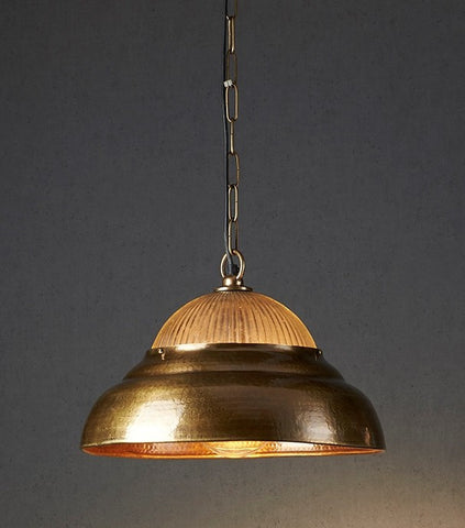 Emac Lawton Atrium Pendant Light Antique Brass E27 in 40cm