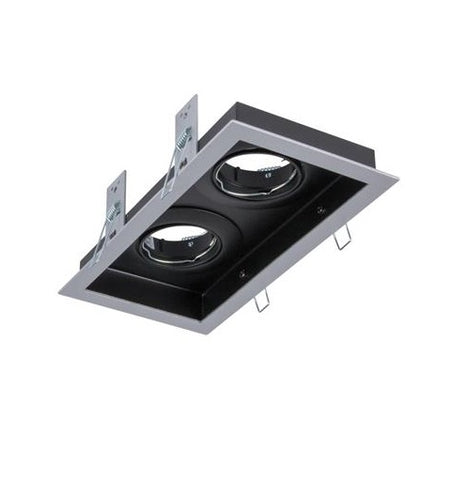 Domus Slotter Twin Downlight Frame Rectangular Silver or White in 23cm