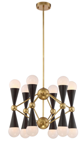 Cafe Lighting  12 Arm Quincy Chandelier E14 in 150cm