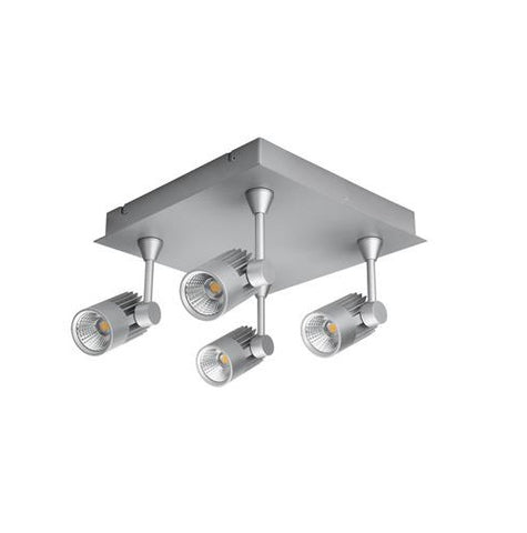 Domus Jet LED Quad Spot Light Square 40W in Silver or White 28cm