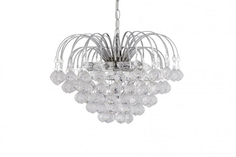 Rouge Living Lourve Pendant Light in Chrome w Acrylic Drops 39cm