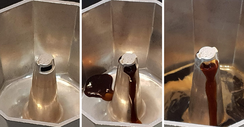 The stages of coffee filling the pot