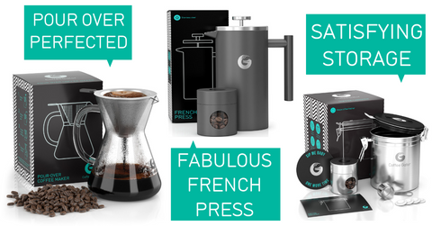 Pour over brewer French press and canisters 25% off