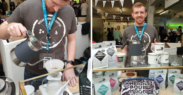 Trialling the kettle at London coffee festival