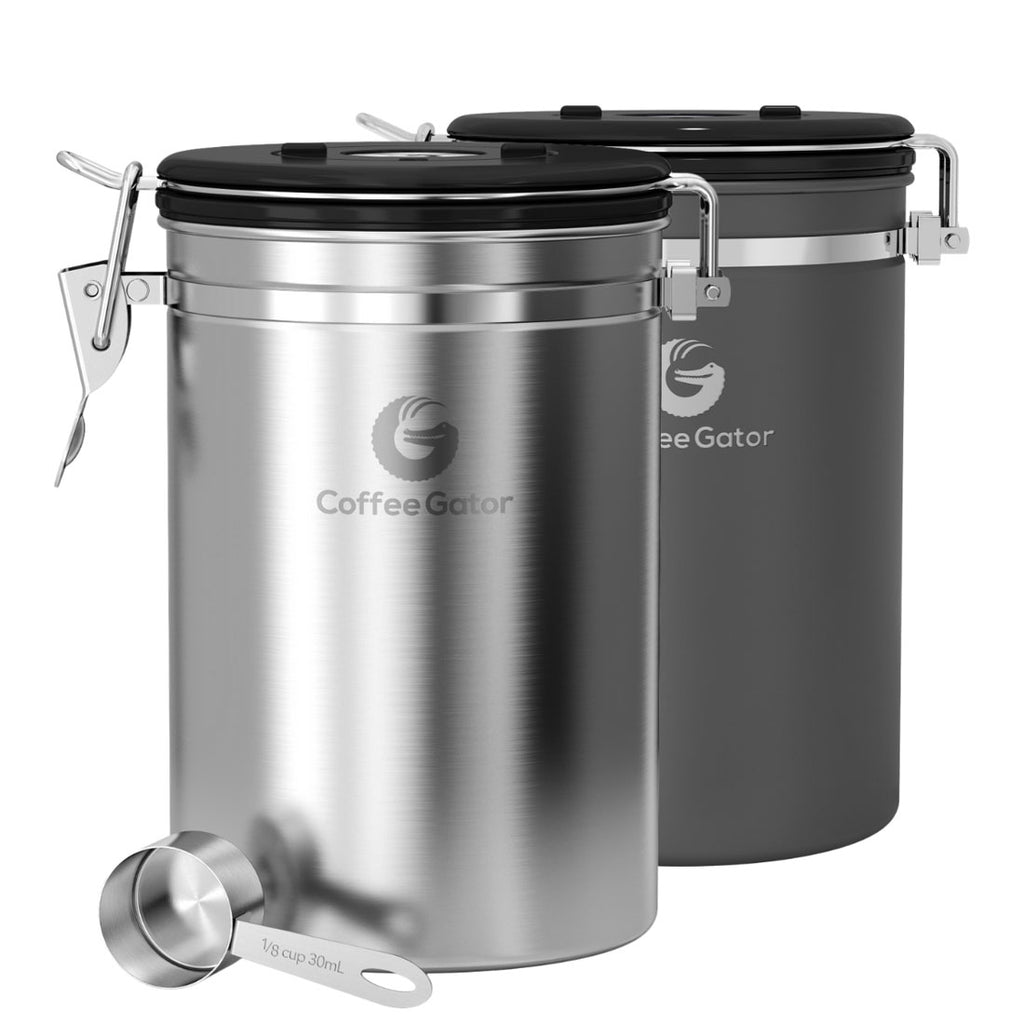 Coffee Canister 2-Pack - Large, Silver & Gray