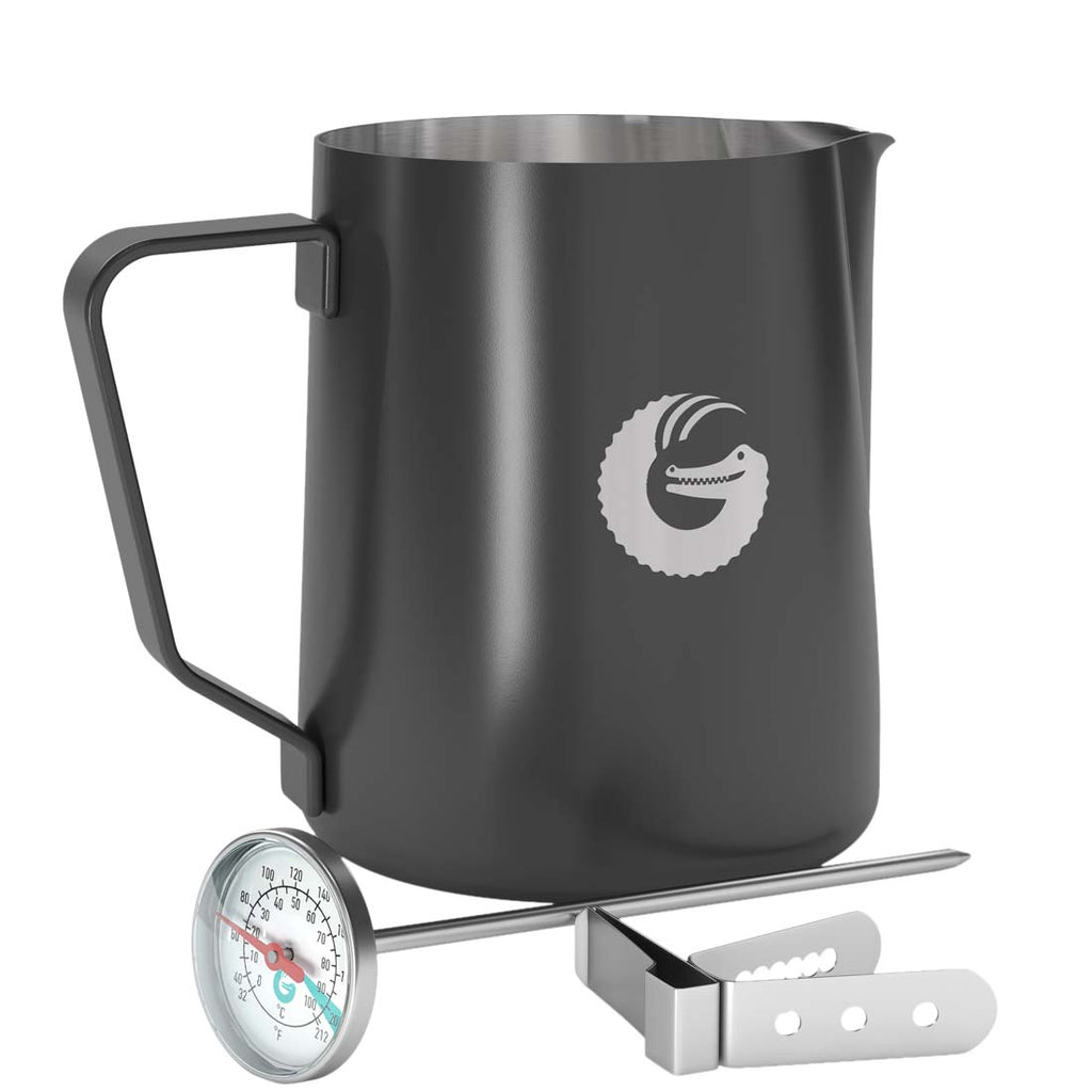 Milk Frothing Barista Pitcher - Steamer with Thermometer - 18.5 ounce
