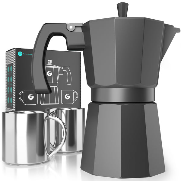 Espresso Moka Pot - Induction-Friendly Stovetop Brewer Plus 2 Thermal Cups - 12 ounce - Coffee Gator