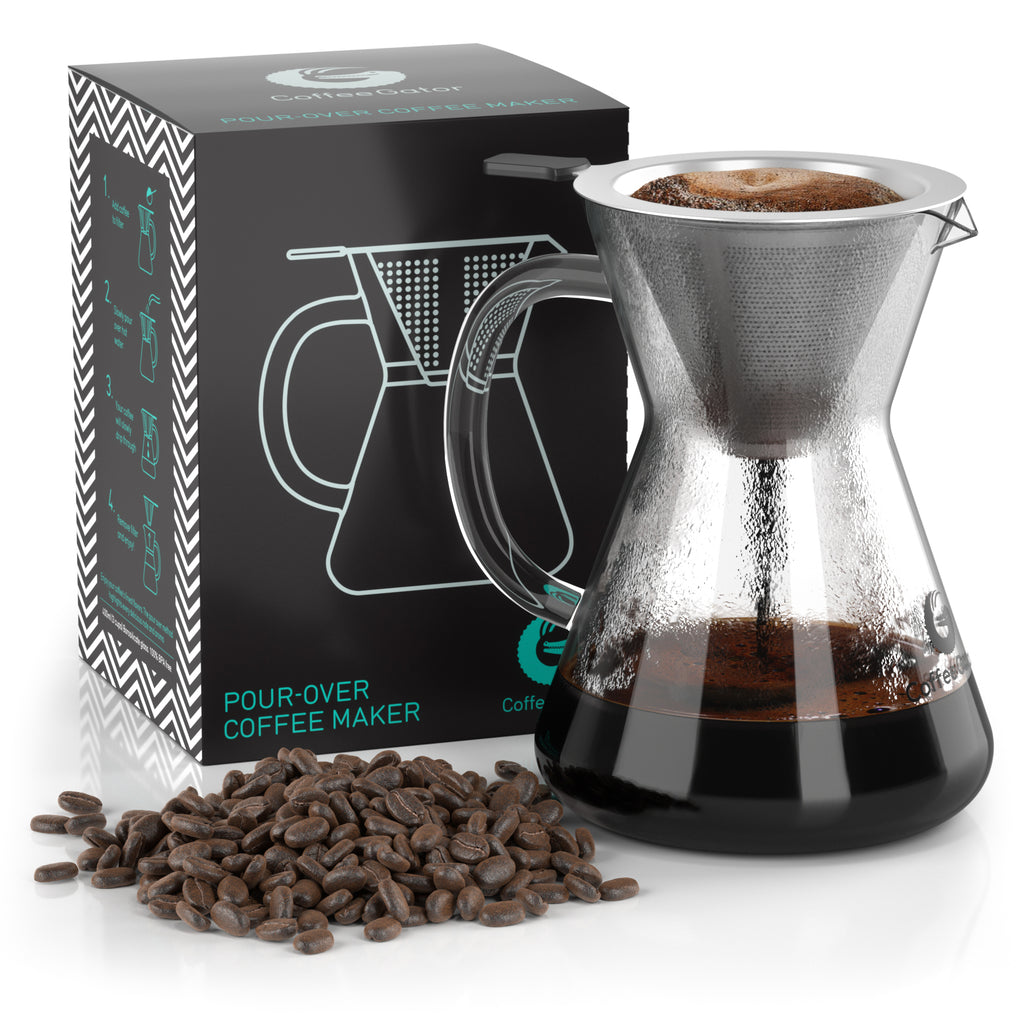 Pour Over Coffee Brewer with Reusable Stainless Steel Mesh Filter - 3-cup / 13.5floz / 400ml - Coffee Gator