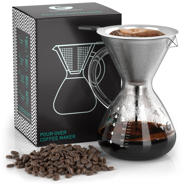 Pour Over Coffee Brewer with Reusable Stainless Steel Mesh Filter - 5-cup / 27floz / 800ml - Coffee Gator