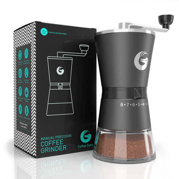 Burr Grinder - Premium Stainless Steel Manual Precision Hand Mill - Coffee Gator
