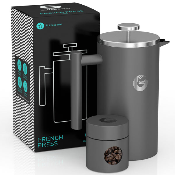 French Press Coffee Maker - Less Sediment, Hotter-For-Longer Thermal Brewer - 34 ounce / 1 litre - Gray - Coffee Gator