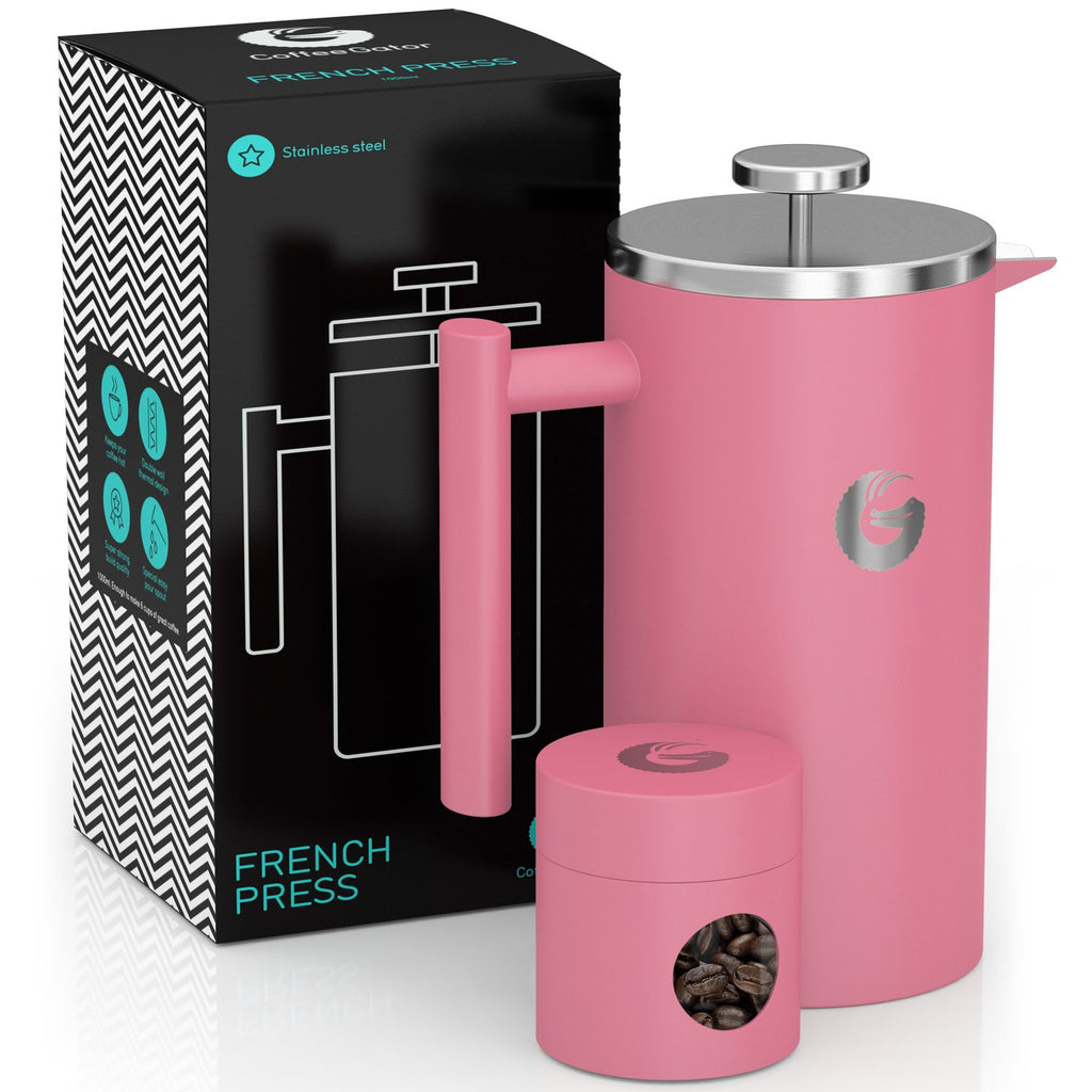French Press Coffee Maker - Less Sediment, Hotter-For-Longer Thermal Brewer - 34 ounce / 1 litre - Pink - Coffee Gator