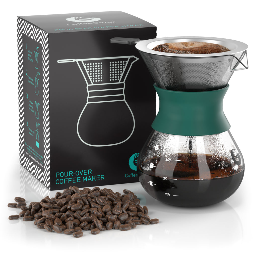 Pour Over Coffee Brewer with Reusable Stainless Steel Mesh Filter - 2-cup / 10floz / 300ml - Coffee Gator