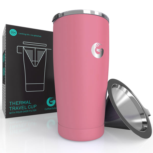 Thermal Pour Over Coffee Brewer Travel Mug - 20oz / 585ml - Pink - Coffee Gator